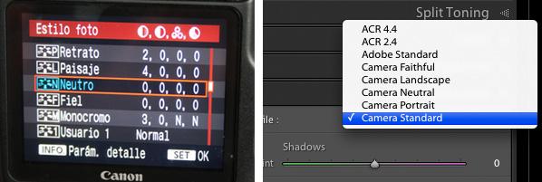 Estilos de la EOS 40D y perfiles diponibles en Lightroom