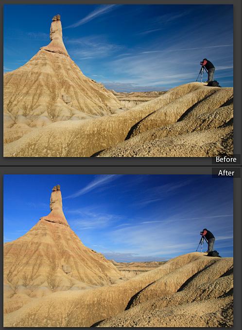 Imagen antes y después de aplicar el perfil Caner Landscape