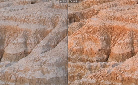 Comparación de un detalle de la imagen antes y después del ajuste