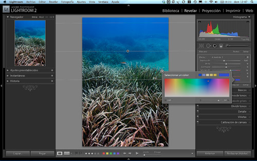 Aplicando color al filtro para mejorar el tono del azul