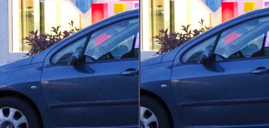 Comparación muy evidente del efecto de reducción de ruido Captura con Canon EOS 40D a 1.600 ISO