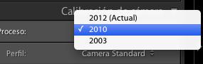 Selección de versión de procesado en el panel de calibración de cámara.