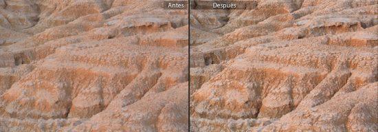 Efecto del ajuste de claridad sobre un terreno cuarteado fotografiado en las Bardenas Reales