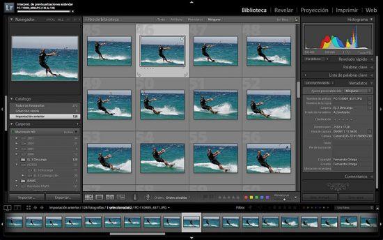 Interfaz con paneles despelgados y una serie de fotos secuencia