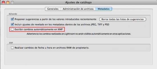 Ventana de configuración del guardado automático de metadatos del XMP